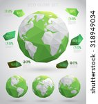 set of vector eco globes  ... | Shutterstock .eps vector #318949034