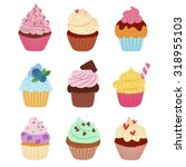 little delicious cupcakes... | Shutterstock .eps vector #318955103