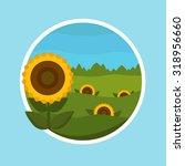 sunflower on the greenfield  ... | Shutterstock .eps vector #318956660