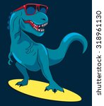 surfer  dinosaur  monster... | Shutterstock .eps vector #318961130