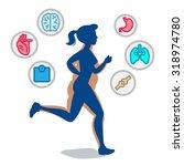 young jogging girl running... | Shutterstock .eps vector #318974780