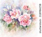 watercolor floral bouquet....   Shutterstock . vector #318986258