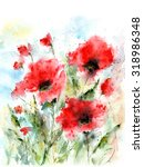 floral background with poppies. ...   Shutterstock . vector #318986348
