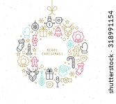 christmas ball design with thin ... | Shutterstock .eps vector #318991154