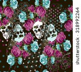 Skull And Roses Seamless Vecto...