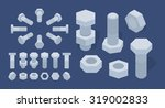 set of the isometric screw nuts ... | Shutterstock .eps vector #319002833