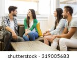friends meeting at the local... | Shutterstock . vector #319005683