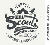girl scouts summer camp.... | Shutterstock .eps vector #319010498