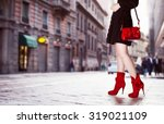 A Girl With Red Bag And Red...