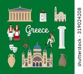 greek landmarks and culture.... | Shutterstock .eps vector #319024208
