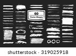 set of 60 grunge vector shapes. ... | Shutterstock .eps vector #319025918