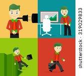 set of businessman pose... | Shutterstock .eps vector #319029833