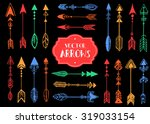 hand drawn doodle tribal arrows.... | Shutterstock .eps vector #319033154