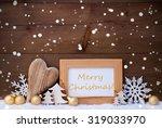 golden christmas decoration on...   Shutterstock . vector #319033970