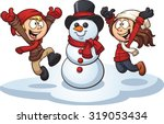 cartoon kids building a snowman.... | Shutterstock .eps vector #319053434