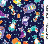 seamless pattern with owls ... | Shutterstock .eps vector #319081049