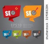 vector   seo with dart hitting... | Shutterstock .eps vector #319083284
