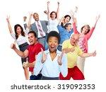 happy joyful people group...   Shutterstock . vector #319092353