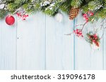 christmas wooden background... | Shutterstock . vector #319096178