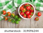 Cherry Tomatoes Bowl On Wooden...