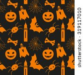 halloween seamless pattern with ... | Shutterstock . vector #319117010