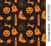 halloween seamless pattern with ... | Shutterstock . vector #319117010
