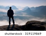 silhouette of tourist with... | Shutterstock . vector #319119869