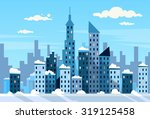winter city skyscraper view... | Shutterstock .eps vector #319125458