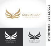 swan logo golden logo  animal... | Shutterstock .eps vector #319127228