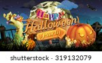 happy halloween party  zombie... | Shutterstock .eps vector #319132079
