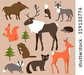 collection of forest animals on ... | Shutterstock . vector #319133774