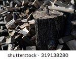 Lumberjack Hatchet On Pile Of...