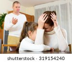 young mother gives solace to... | Shutterstock . vector #319154240