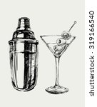 sketch martini cocktails with... | Shutterstock .eps vector #319166540