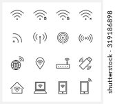 set of wireless and wifi icons | Shutterstock .eps vector #319186898