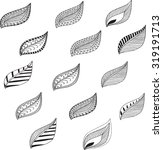 doodle leaves set | Shutterstock .eps vector #319191713