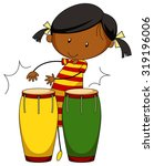 little girl playing drums... | Shutterstock .eps vector #319196006