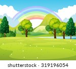 Nature scene of a park with rainbow illustration | Shutterstock vector #319196054