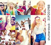 collage diverse faces summer... | Shutterstock . vector #319201988