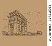 arc de triomphe  paris  france. ... | Shutterstock .eps vector #319215086