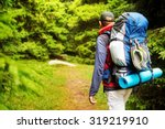 male backpacker hiking tracking ... | Shutterstock . vector #319219910