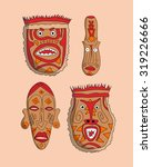vector hand drawn african masks ... | Shutterstock .eps vector #319226666