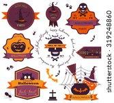 set of vintage happy halloween... | Shutterstock .eps vector #319248860