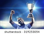 happy sportsman looking up and... | Shutterstock . vector #319253054