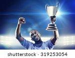 happy sportsman looking up and... | Shutterstock . vector #319253054