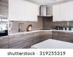 Stock photo image of a bright spacious kitchen in modern style 319255319