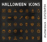 vector halloween outline icons | Shutterstock .eps vector #319256954