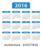 blue glossy english calendar... | Shutterstock . vector #319277810