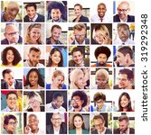 collage diverse faces group... | Shutterstock . vector #319292348