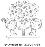 children reading a book... | Shutterstock .eps vector #319297796